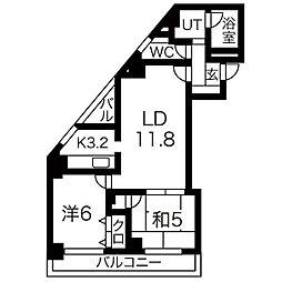 マリアールステーションパレス 4階2LDKの間取り