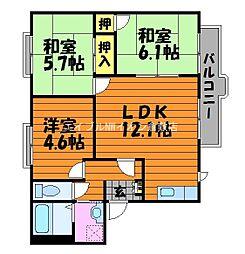 岡山県倉敷市連島1丁目の賃貸アパートの間取り