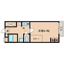 奈良県生駒郡斑鳩町興留の賃貸アパートの間取り