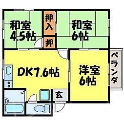 広島県安芸郡熊野町川角4丁目の賃貸アパートの間取り