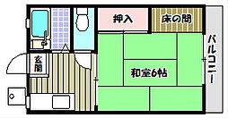 大阪府大阪狭山市池尻中2丁目の賃貸アパートの間取り