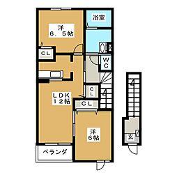 静岡県富士宮市富士見ケ丘の賃貸アパートの間取り
