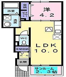 大阪府枚方市招提南町3の賃貸アパートの間取り