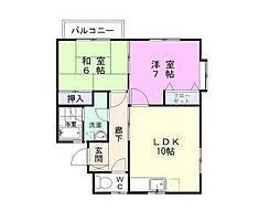 福岡県北九州市八幡西区本城2丁目の賃貸アパートの間取り