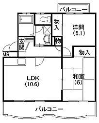 静岡県浜松市南区楊子町の賃貸マンションの間取り