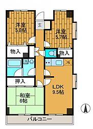 ピオニー3[3階]の間取り