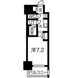 名古屋市営東山線 新栄町駅 徒歩9分の賃貸マンション 7階1Kの間取り