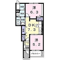 静岡県浜松市浜北区上島の賃貸アパートの間取り