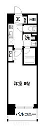 JR山陰本線 梅小路京都西駅 徒歩7分の賃貸マンション 7階1Kの間取り