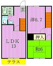 [テラスハウス] 千葉県松戸市小金原6丁目 の賃貸【千葉県 / 松戸市】の間取り