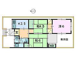 [テラスハウス] 奈良県奈良市若葉台2丁目 の賃貸【奈良県 / 奈良市】の間取り