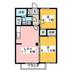 ツインセフィラ B[1階]の間取り