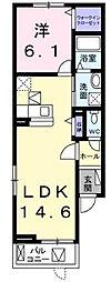 サニーハウス緑[1階]の間取り