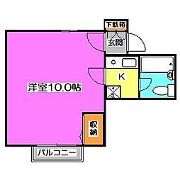 東京都東久留米市浅間町3丁目の賃貸アパートの間取り