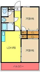 アゾラーレ五井[406号室]の間取り