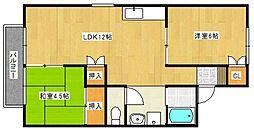 カーサ金子[2階]の間取り