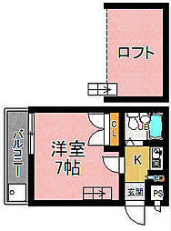 奈良県奈良市花園町の賃貸アパートの間取り