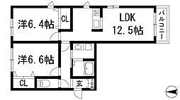 兵庫県宝塚市小林3丁目の賃貸アパートの間取り