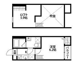 神奈川県相模原市南区東林間1丁目の賃貸アパートの間取り