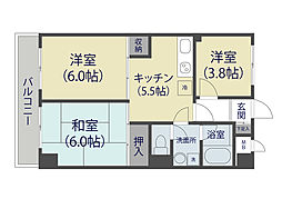 キャッスルマンション草加松原[3階]の間取り