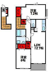 福岡県糟屋郡志免町田富3丁目の賃貸アパートの間取り