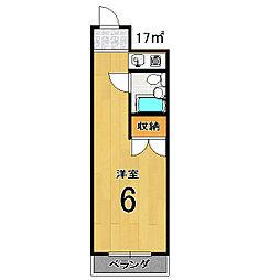 サニーハイツ西ノ京[3B号室]の間取り