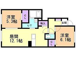 ロングハウス 1階2LDKの間取り