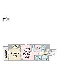 Villa Stellaparc 2階1LDKの間取り