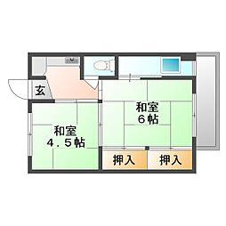 岡山県岡山市南区妹尾の賃貸マンションの間取り
