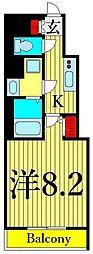 東京メトロ日比谷線 三ノ輪駅 徒歩5分の賃貸マンション 12階1Kの間取り