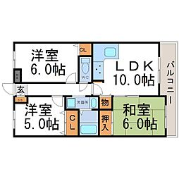兵庫県尼崎市東難波町1丁目の賃貸マンションの間取り