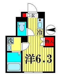 JR総武線 亀戸駅 徒歩6分の賃貸アパート 1階ワンルームの間取り