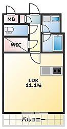 ロダン広島通り 2階ワンルームの間取り