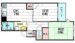 ベルヴュー中桜塚[2階]の間取り