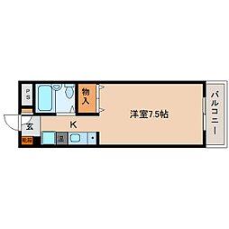 JR関西本線 三郷駅 徒歩8分の賃貸マンション 3階1Kの間取り