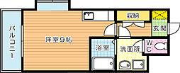 オリエンタル三萩野[201号室]の間取り
