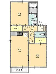 セジュール別井[B202号室]の間取り