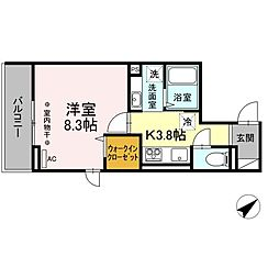 D-room大塚帝京 2階1Kの間取り