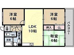 近鉄大阪線 堅下駅 徒歩10分の賃貸マンション 1階3LDKの間取り
