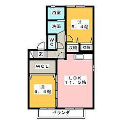 コーポ勇助山[2階]の間取り