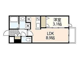 月光江波東弐番館 3階1LDKの間取り