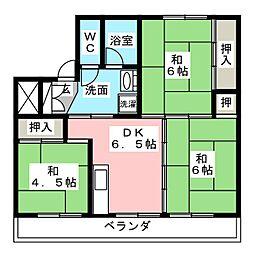 ビレッジハウス南中津川 2号棟[3階]の間取り