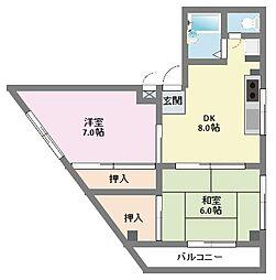 神奈川県横浜市鶴見区下末吉1丁目の賃貸マンションの間取り