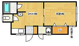 八木アパート[205号室]の間取り