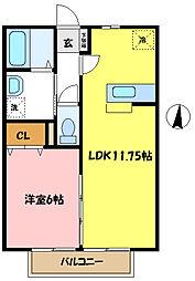 埼玉県さいたま市桜区大字大久保領家の賃貸アパートの間取り