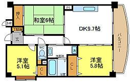 大阪府大阪市平野区背戸口2丁目の賃貸マンションの間取り