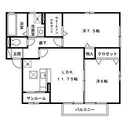 フォレストU B[1階]の間取り