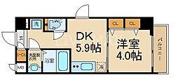 エステムコート京都東寺 朱雀邸 2階1DKの間取り