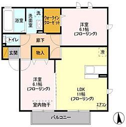 埼玉県川口市石神の賃貸アパートの間取り