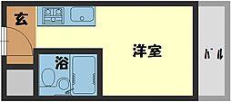 ヴィラ守口 6階1Kの間取り